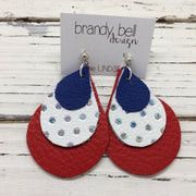 LINDSEY - Leather Earrings  ||  MATTE COBALT BLUE, WHITE WITH HOLOGRAPHIC SILVER DOTS, MATTE RED
