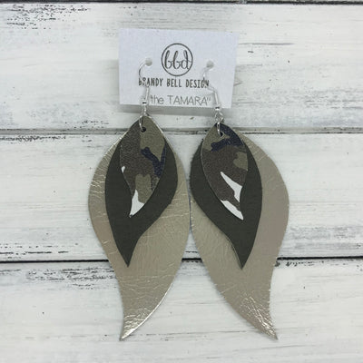 TAMARA - Leather Earrings  ||  <BR> CAMOUFLAGE, <BR> MATTE OLIVE GREEN, <BR> METALLIC CHAMPAGNE SMOOTH