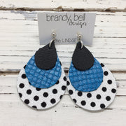 LINDSEY - Leather Earrings  ||  MATTE BLACK, PEARLIZED BLUE, WHITE WITH BLACK POLKADOTS