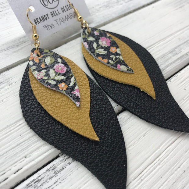 TAMARA - Leather Earrings  ||  <BR> MINI FLORAL, <BR> MATTE MUSTARD YELLOW, <BR> MATTE BLACK