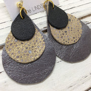 LINDSEY - Leather Earrings  ||  MATTE BLACK, IVORY STINGRAY DOTS, PEARLIZED GUN METAL GRAY