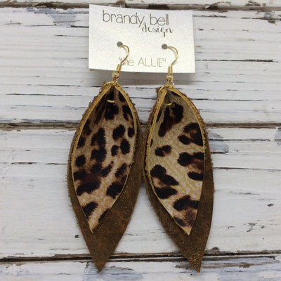 ALLIE -  Leather Earrings  || LEOPARD PRINT, DISTRESSED PEARLIZED BROWN
