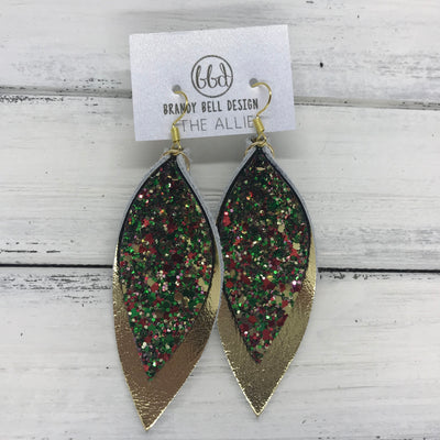 ALLIE -  Leather Earrings  || CHRISTMAS GLITTER (NOT REAL LEATHER), METALLIC GOLD