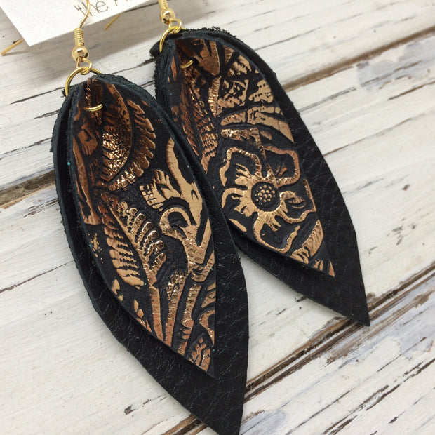 ALLIE -  Leather Earrings  || BLACK WITH METALLIC COPPER FLORAL, MATTE BLACK