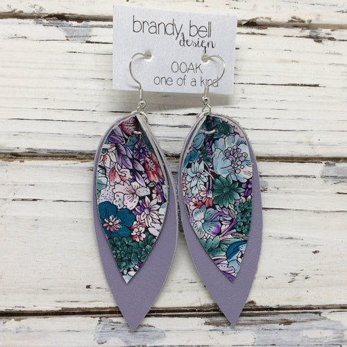 ALLIE -  Leather Earrings  ||  OOAK (One of a Kind)  PURPLE/GREEN FLORAL, MATTE LAVENDER