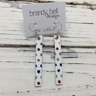 LUCILLE - Leather Earrings  ||  MATTE WHITE WITH METALLIC RED, BLUE & SILVER STARS