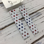 FINN - Leather Earrings  ||  MATTE WHITE WITH METALLIC RED/SILVER/BLUE STARS