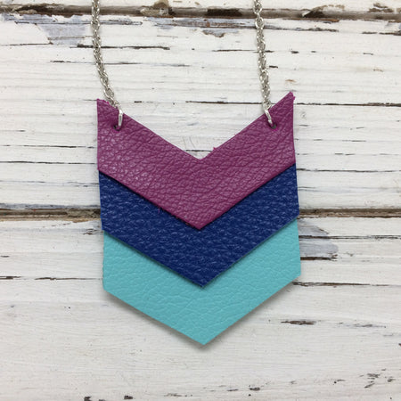 EMERSON - Leather Necklace  || MATTE FUCHSIA, MATTE COBALT BLUE, MATTE ROBINS EGG BLUE