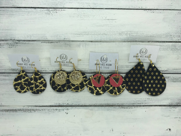 TRIXIE - Leather Earrings  ||    <BR> GOLD TRIANGLE, <BR> MATTE BLACK,  <BR> CHEETAH PRINT