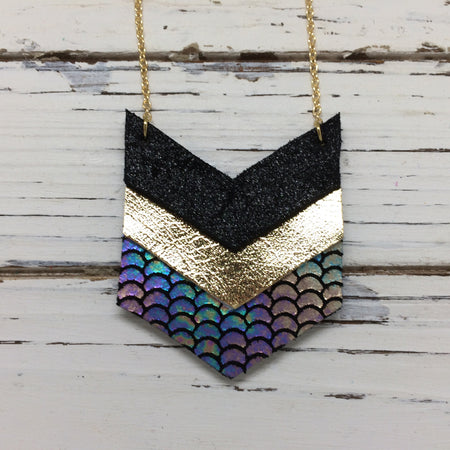 EMERSON - Leather Necklace  ||  SHIMMER BLACK, METALLIC GOLD, METALLIC MERMAID ANTIQUE BLUE/GREEN/PINK