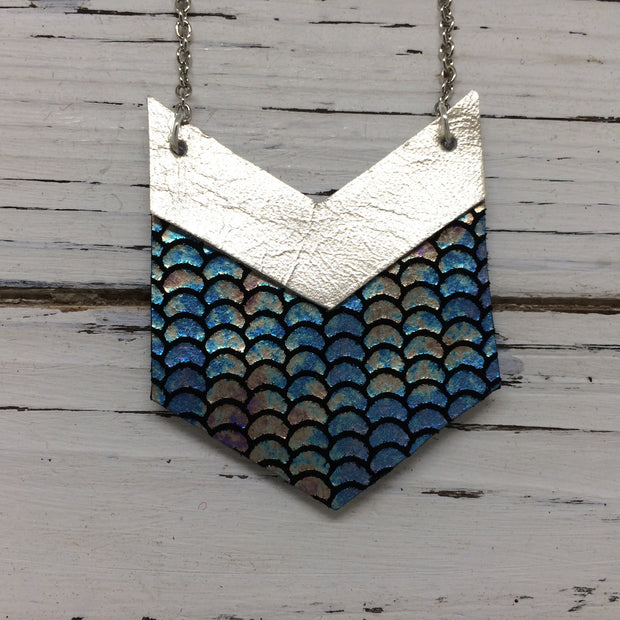 EMERSON - Leather Necklace  ||  METALLIC CHAMPAGNE, METALLIC MERMAID ANTIQUE BLUE/GREEN/PINK