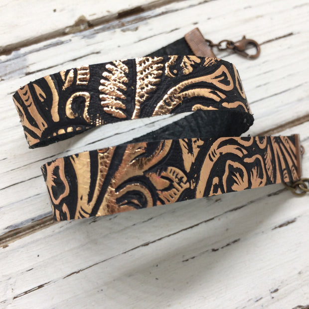 ANGEL - WRAP BRACELET / CHOKER NECKLACE - handmade by Brandy Bell Design ||  BLACK WITH METALLIC COPPER FLORAL