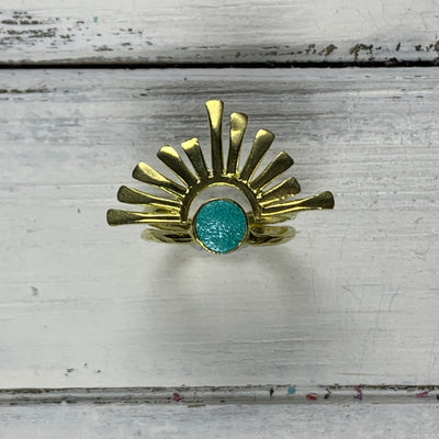 SUEDE + STEEL *Limited Edition* COLLECTION ||  <br> Adjustable Raw Brass Burst Ring ||  GOLD  w/ PEARLIZED AQUA