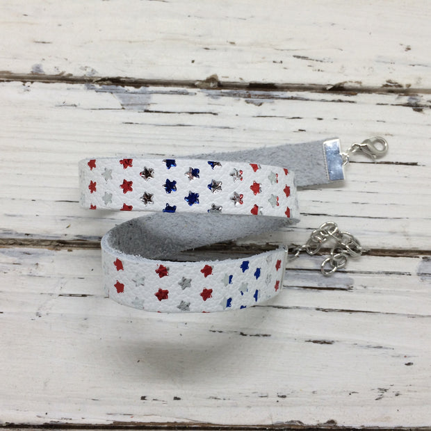 ANGEL - WRAP BRACELET / CHOKER NECKLACE - handmade by Brandy Bell Design ||  WHITE WITH METALLIC RED, BLUE & SILVER STARS