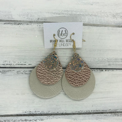 LINDSEY - Leather Earrings  ||   <BR>  GLAMOUR GLITTER (FAUX LEATHER), <BR> METALLIC ROSE GOLD PEBBLED,  <BR> METALLIC CHAMPAGNE SMOOTH