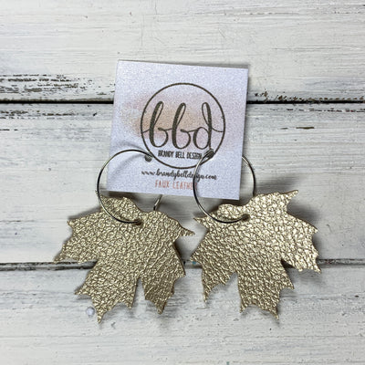 MAPLE - Leather Earrings  ||    <BR> LIGHT GOLD MAPLE LEAF  (FAUX LEATHER)