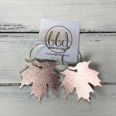 MAPLE - Leather Earrings  ||    <BR> METALLIC ROSE GOLD MAPLE LEAF  (FAUX LEATHER)