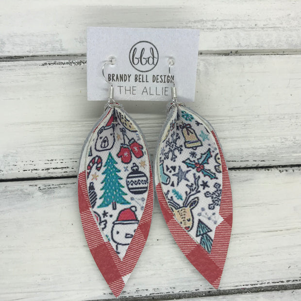 ALLIE -  Leather Earrings  || CHRISTMAS PRINT (FAUX LEATHER), RED & WHITE PLAID