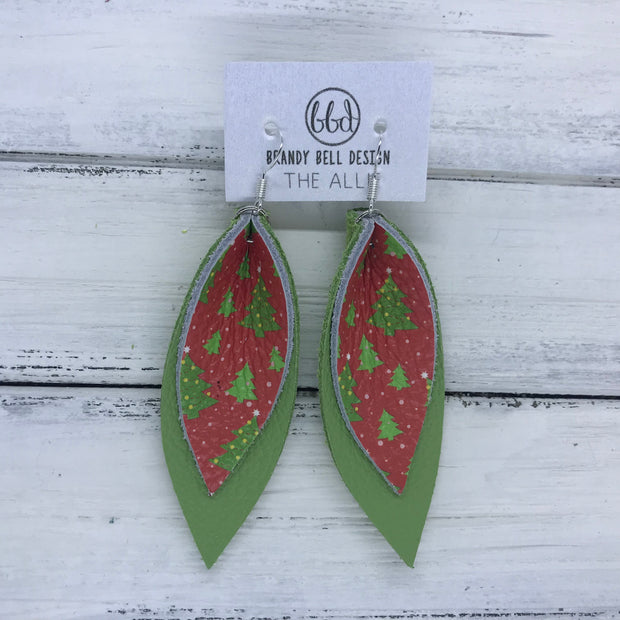 ALLIE -  Leather Earrings  || RED & GREEN CHRISTMAS TREES, MATTE SPRING GREEN