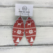 ALLIE -  Leather Earrings  || RED CHRISTMAS SWEATER (SINGLE LAYER)
