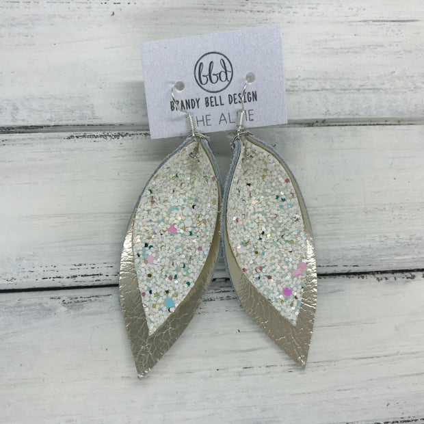 ALLIE -  Leather Earrings  || CONFETTI CAKE GLITTER (FAUX LEATHER), <BR> METALLIC CHAMPAGNE SMOOTH
