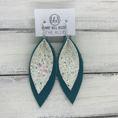ALLIE -  Leather Earrings  || CONFETTI CAKE GLITTER (FAUX LEATHER), <BR> MATTE DARK TEAL