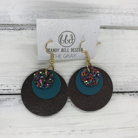 GRAY - Leather Earrings  ||   <BR> GUMDROPS & LOLLIPOPS GLITTER (NOT REAL LEATHER), <BR> MATTE DARK TEAL,  <BR> PEARLIZED DARK BROWN