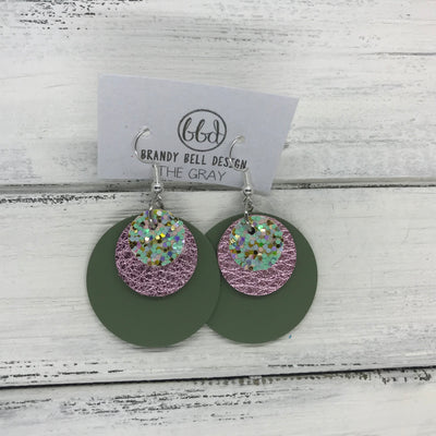 GRAY - Leather Earrings  ||   <BR> MERMAID MAGIC GLITTER (NOT REAL LEATHER), <BR> METALLIC LIGHT PINK PEBBLED,  <BR> MATTE AVOCADO GREEN
