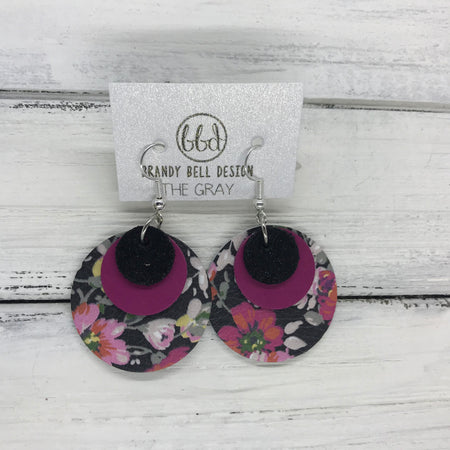 GRAY - Leather Earrings  ||   <BR> SHIMMER BLACK, <BR> MATTE RASPBERRY,  <BR> PINK FLORAL ON BLACK