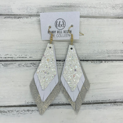 COLLEEN -  Leather Earrings  ||   CONFETTI CAKE GLITTER (FAUX LEATHER), <BR> MATTE WHITE, <BR> SHIMMER ROSE GOLD