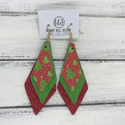 COLLEEN -  Leather Earrings  ||   RED & GREEN CHRISTMAS TREES, <BR> MATTE BRIGHT GREEN, <BR> RED BRAIDED