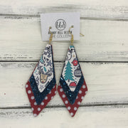COLLEEN -  Leather Earrings  ||    CHRISTMAS PRINT (FAUX LEATHER), <BR> DARK TEL GLITTER (FAUX LEATHER), <BR> RED & WHITE POLKADOTS