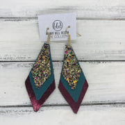 COLLEEN -  Leather Earrings  ||  CHUNKY GOLD JEWELS (FAUX LEATHER), <BR> MATTE DARK TEAL, <BR> METALLIC CRANBERRY SMOOTH