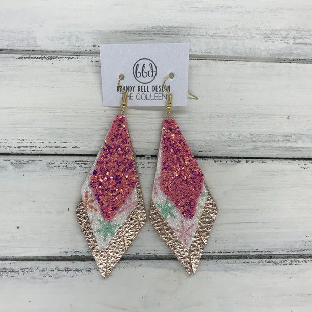 COLLEEN -  Leather Earrings  ||  RASPBERRY FIZZ (FAUX LEATHER), <BR> SNOWFLAKE GLITTER (FAUX LEATHER), <BR> METALLIC ROSE GOLD PEBBLED