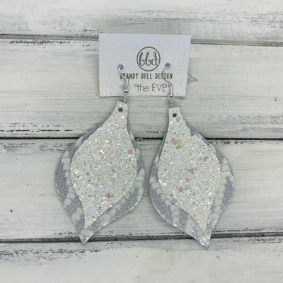EVE - Leather Earrings  || <BR> CONFETTI CAKE GLITTER (NOT REAL LEATHER), <BR> SILVER & WHITE CHEVRON