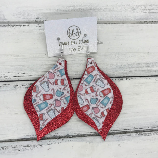 EVE - Leather Earrings  || <BR> PEPPERMINT MOCHA COFFEE CUPS (FAUX LEATHER), <BR> METALLIC RED PEBBLED