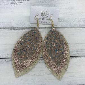 GINGER - Leather Earrings  ||  <BR>  GLAMOUR GLITTER (NOT REAL LEATHER) <BR> METALLIC ROSE GOLD PEBBLED <BR> IVORY WITH ROSE GOLD HATCHING