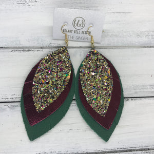GINGER - Leather Earrings  ||  <BR>  CHUNKY GOLD JEWELS GLITTER (NOT REAL LEATHER) <BR> METALLIC CRANBERRY SMOOTH <BR> MATTE EMERALD GREEN