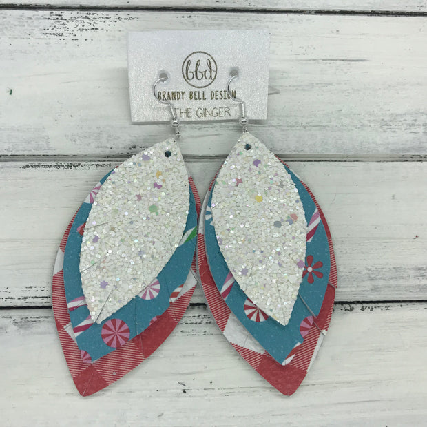 GINGER - Leather Earrings || , CONFETTI CAKE GLITTER (FAUX LEATHER) , CANDY  CANES & PEPPERMINT , RED & WHITE BUFFALO PLAID