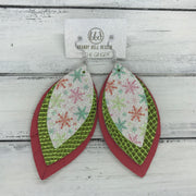 GINGER - Leather Earrings  ||  <BR>  GLITTER SNOWFLAKES  <BR> METALLIC GREEN COBRA <BR> MATTE CORAL/PINK