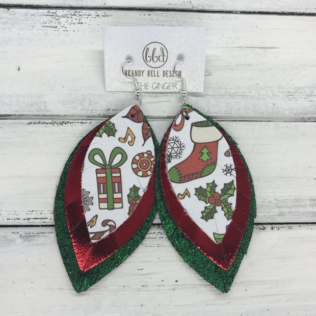 GINGER - Leather Earrings  ||  <BR>  CHRISTMAS PARTY PRINT  <BR> METALLIC RED SMOOTH <BR> SHIMMER GREEN