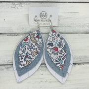 GINGER - Leather Earrings  ||  <BR>  CHRISTMAS PRINT (FAUX LEATHER),  <BR> LIGHT BLUE BRAIDED, <BR> MATTE WHITE