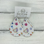 ZOEY (3 sizes available!) -  Leather Earrings  ||  HANUKKAH PRINT ON WHITE
