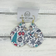 ZOEY (3 sizes available!) -  Leather Earrings  ||  <BR> CHRISTMAS PRINT (FAUX LEATHER) <br> (*pattern placement varies)