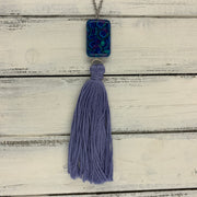 TASSEL NECKLACE - CAROLINA    ||  PERIWINKLE BLUE TASSEL WITH PEACOCK FEATHER BEAD