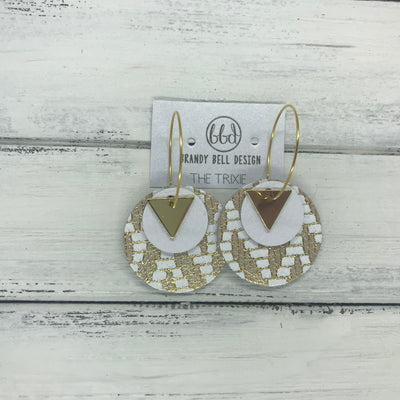 TRIXIE - Leather Earrings  ||    <BR> GOLD TRIANGLE, <BR> MATTE WHITE,  <BR> GOLD & WHITE CHEVRON