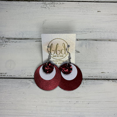 GRAY - Leather Earrings  ||    <BR> BURGUNDY GLITTER (FAUX LEATHER), <BR> MATTE WHITE  <BR> METALLIC CRANBERRY SMOOTH