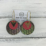 TRIXIE - Leather Earrings  ||    <BR> GOLD TRIANGLE, <BR> MATTE CORAL/PINK,  <BR> METALLIC PINK/GREEN MERMAID