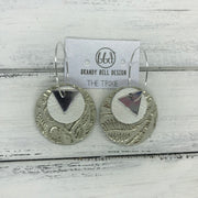 TRIXIE - Leather Earrings  ||    <BR> SILVER TRIANGLE, <BR> PEARL WHITE,  <BR> METALLIC CHAMPAGNE WESTERN FLORAL