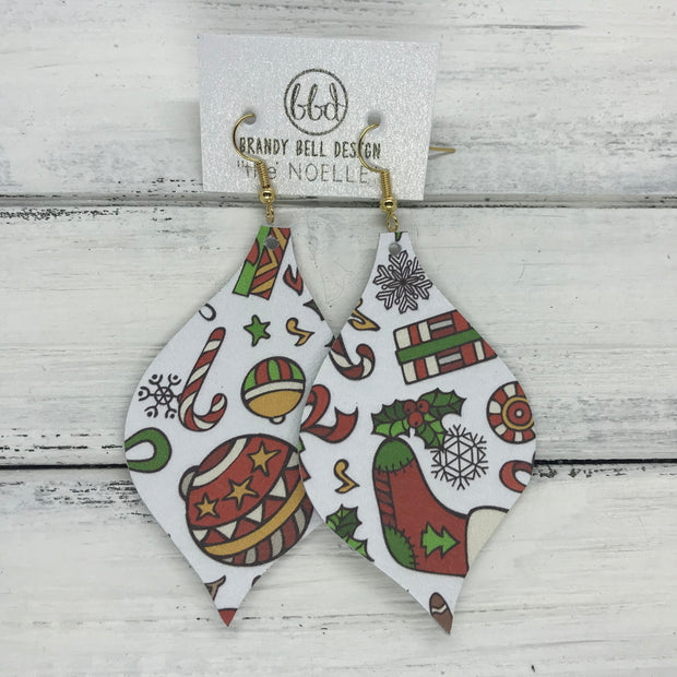 NOELLE - Leather Earrings  ||   CHRISTMAS PARTY PRINT